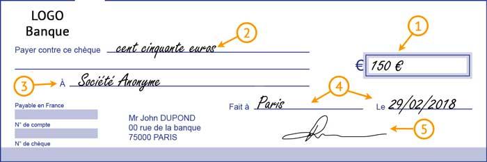 Chèque rempli avec annotation